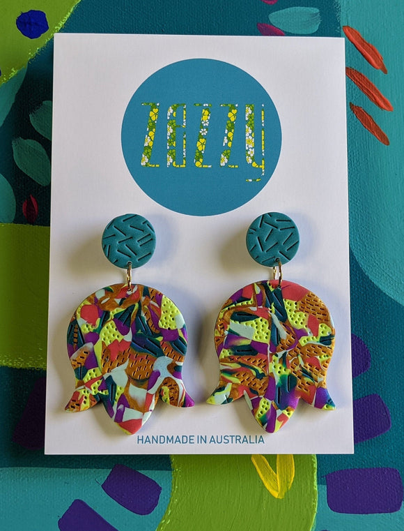 Cane Polymer Clay Statement Studs