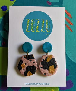 Cane Polymer Clay 'Heptagon' Statement Studs