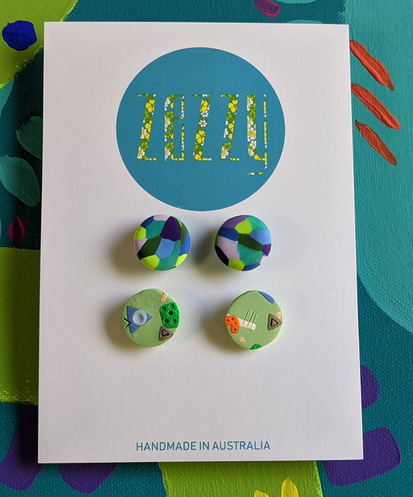 Polymer Clay Studs 2 Pack - 'Green Team'