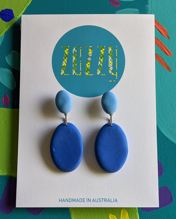 Polymer Clay Statement Studs - 'Blue Envy'