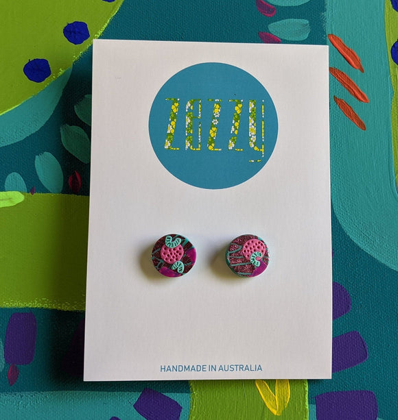 Polymer Clay Studs - Pink Botanical