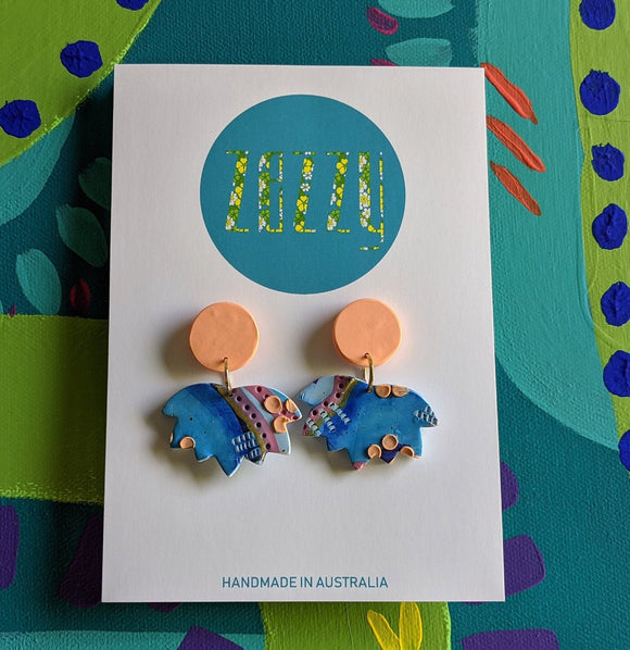 Polymer Clay Statement Studs ' 'Blue Maple'