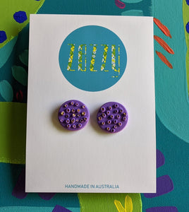 Polymer Clay Studs - Purple with Gold Leaf