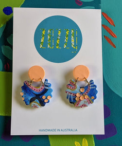 Polymer Clay 'Apricot Coral Reef' Dangles