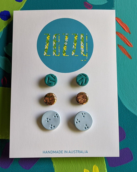 Polymer Clay Studs 3 Pack