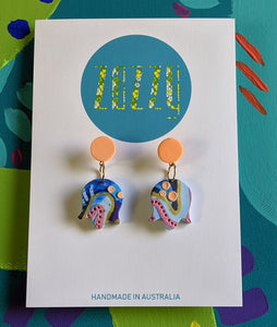Cane Polymer Clay 'Coral Reef Pacman' Statement Studs - Discontinued