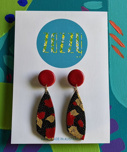 Polymer Clay Statement Studs - 'Red Top Kimono'