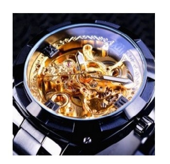 Forsining Automatic Machinery Watch Hollow Waterproof Steel Strip Men's