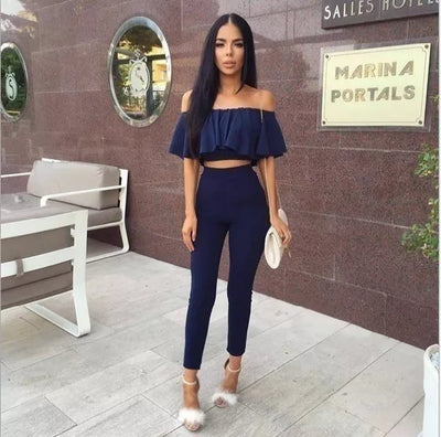 Sexy Strapless Jumpsuit Solid Falbala Two Piece Suit 2pcs