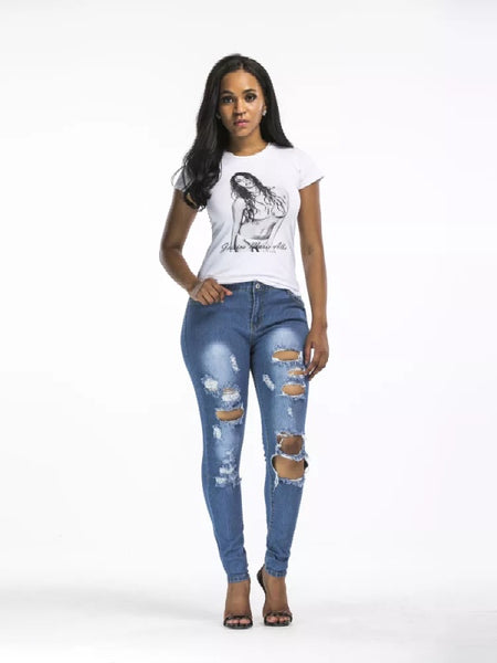 Women's Fashion Selling Holes Jeans Pants