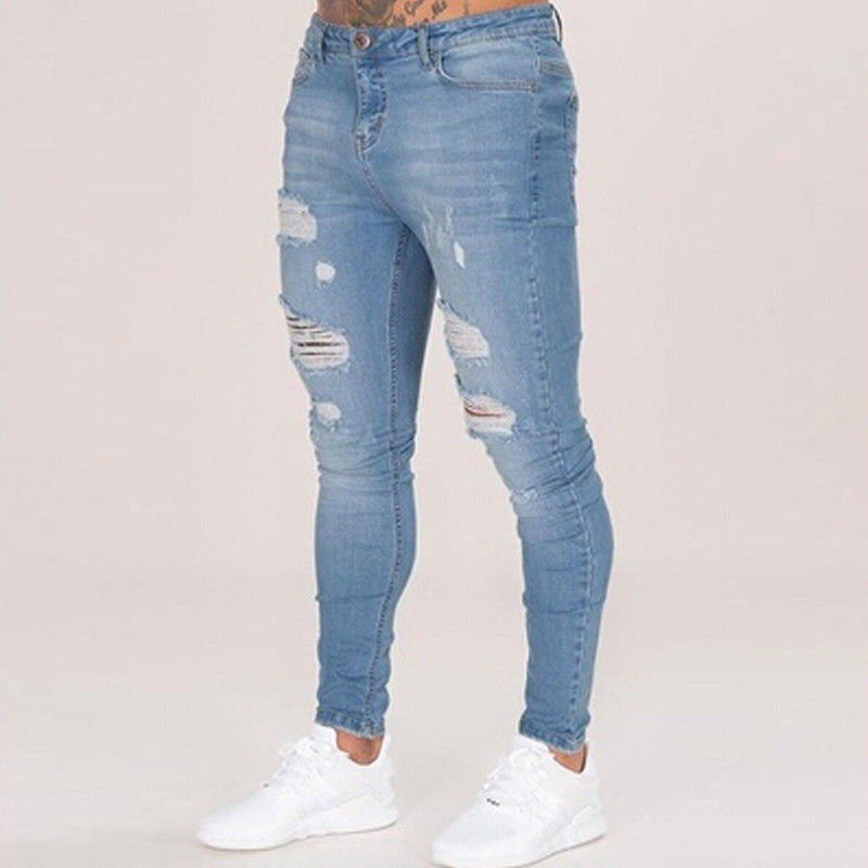 Jeans Men Washed Tight Knee Hole Station Spring Summer Thin Section Men