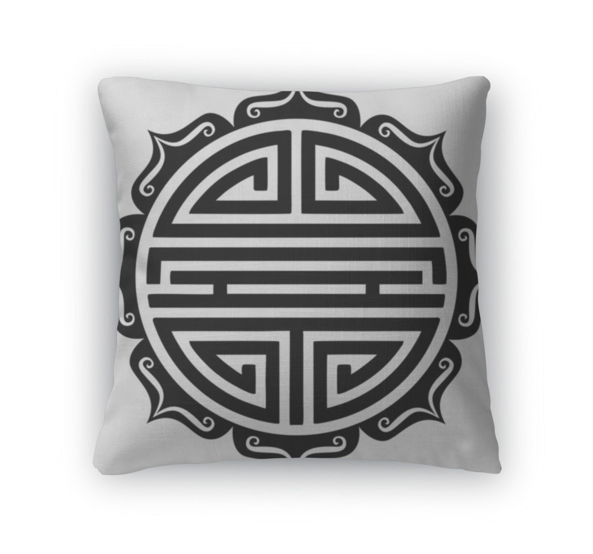 Throw Pillow, Shou Symbol Lotus Chinese Good Luck Charm Longevity Good Health