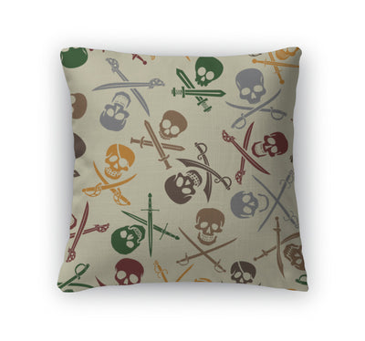 Throw Pillow, Pirate Skulls With Crossed Swords Pattern - fashionbests