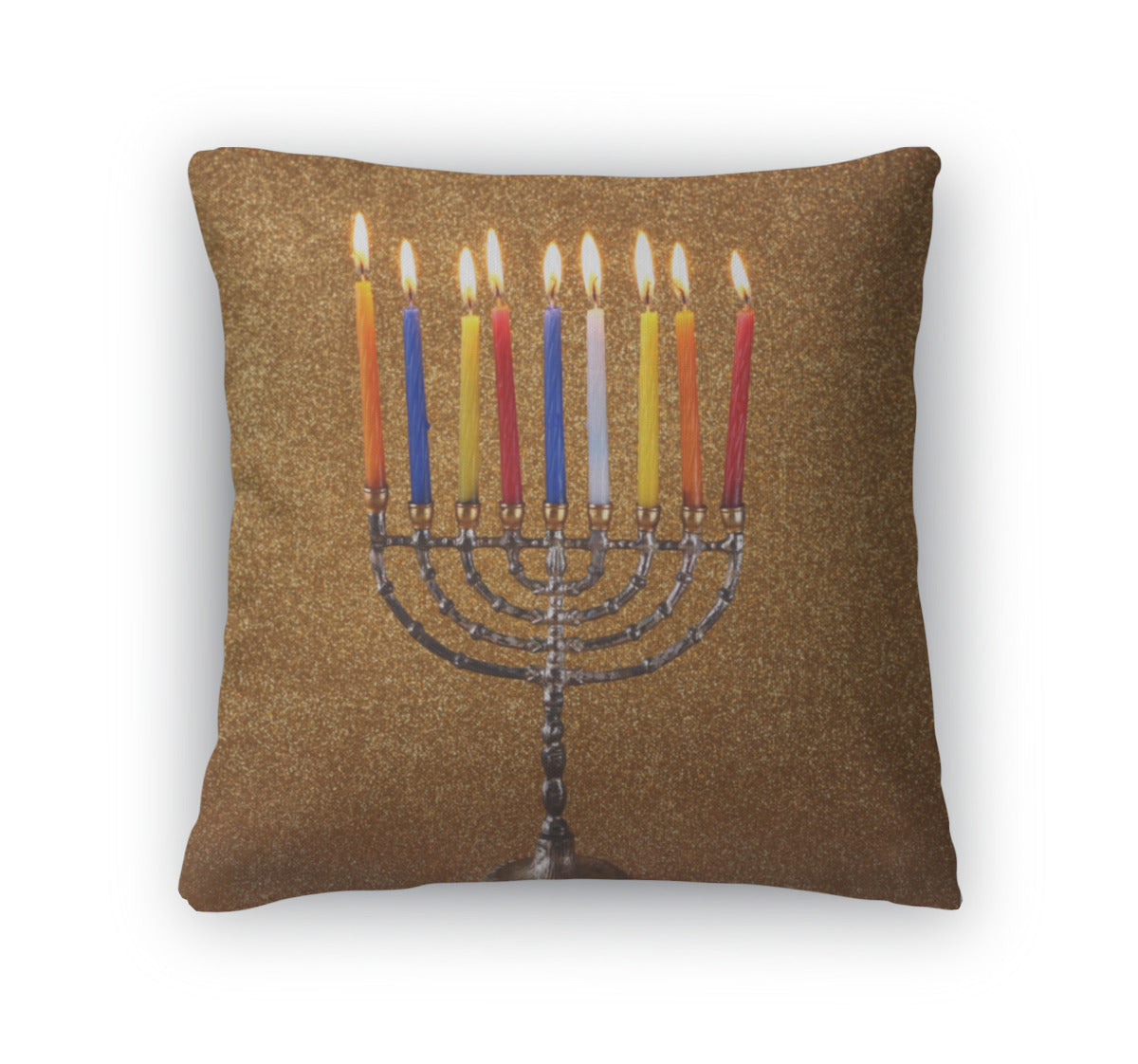 Throw Pillow, Menorah With Candels And Glitter Lights Hanukkah Concept - fashionbests
