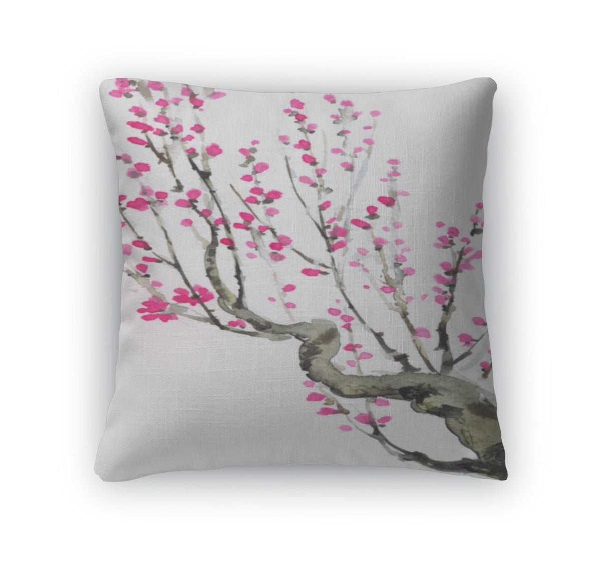 Throw Pillow, Watercolor Crimson Flowers On Tree Branches