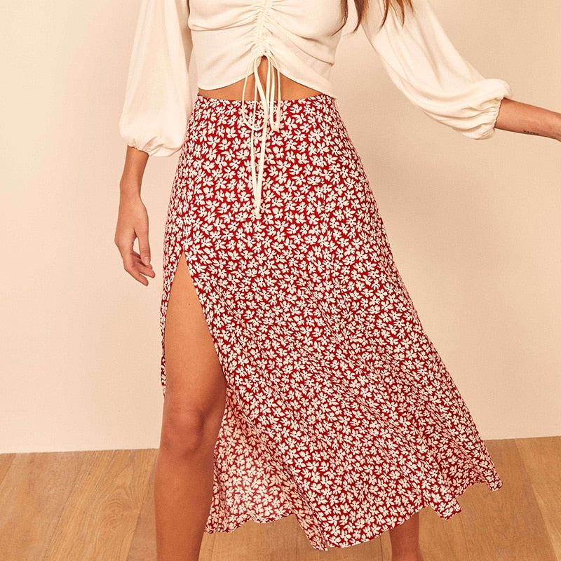 Skirts Womens 2020 Vintage Floral Print Women Summer Skirt Side Slit High Waist A Line Midi Skirt Chiffon Woman Skirts Clothes - fashionbests