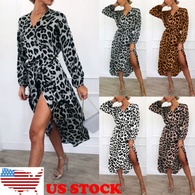 Women Wrap Leopard Printed Boho Long Maxi Dress Casual Bandage Bodycon Long Sleeve V Neck Loose Club Wear Dresses - fashionbests
