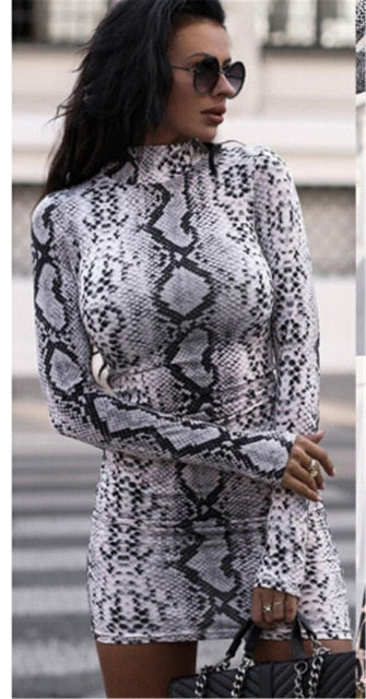 Sexy Women Turtleneck Long Sleeve Leopard Print Dress 2019 Snake Skin Evening Party Clubwear Dress Bodycon Fashion Women Dress - fashionbests