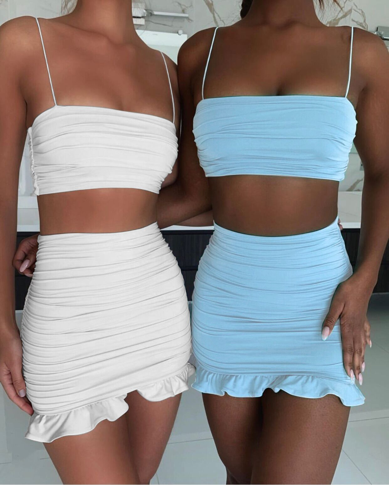 White Women dress Bodycon Skirt Ruffles Off Shoulder Crop Top Summer Skirt Casual Short Beach skirt Vestidos - fashionbests