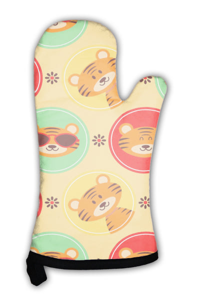 Oven Mitt, Pattern With Cute Baby Tigers