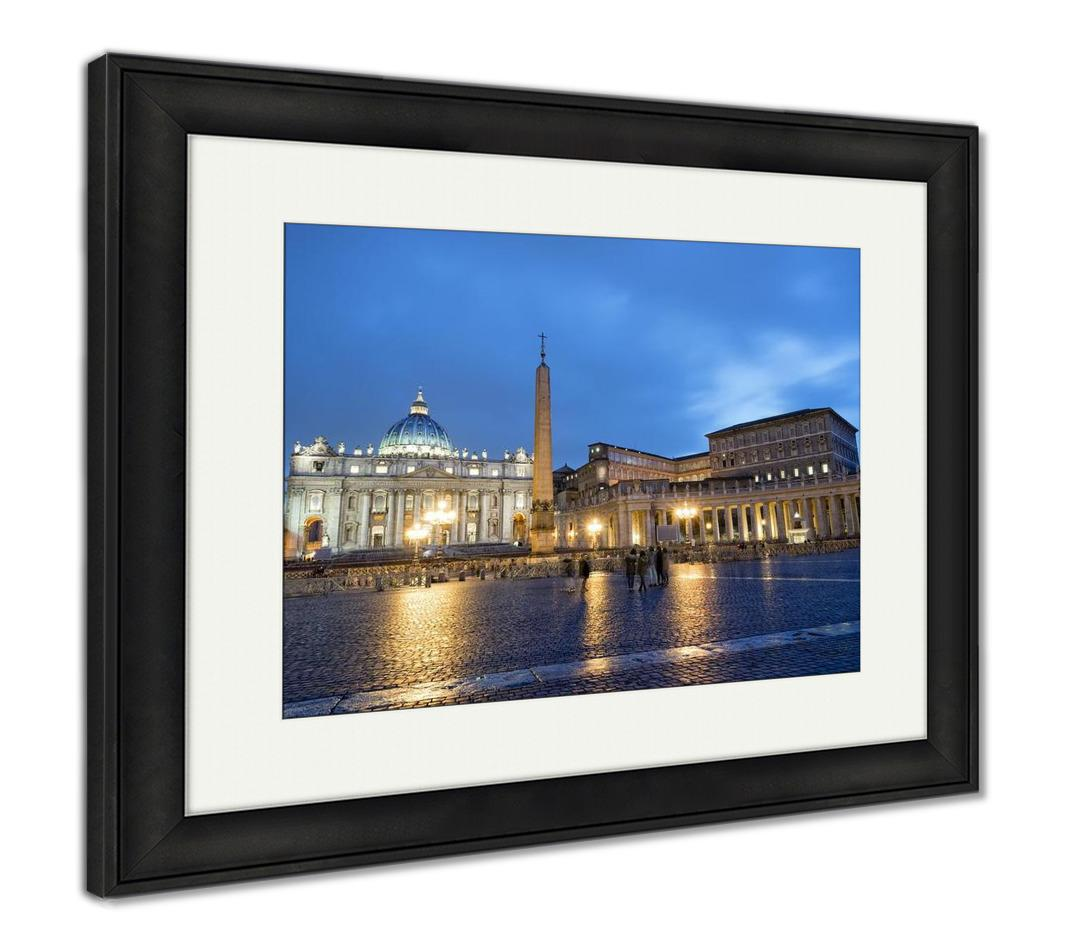 Framed Print, Colosseum Rome Vatican Place Saint Peter Cathedral At Night - fashionbests