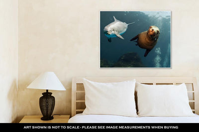 Gallery Wrapped Canvas, Dolphin And Sea Lion Underwater Close Up