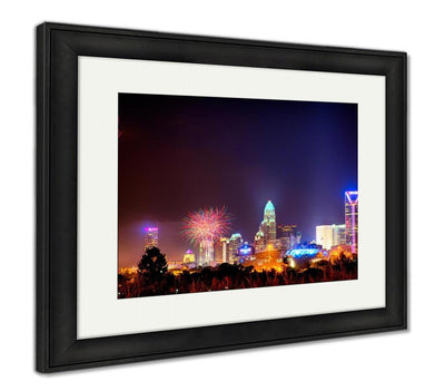 Framed Print, 4th Of July Fireworks Skyshow Charlotte Nc