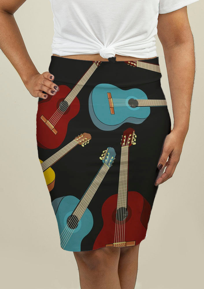 Pencil Skirt with Guitars - fashionbests