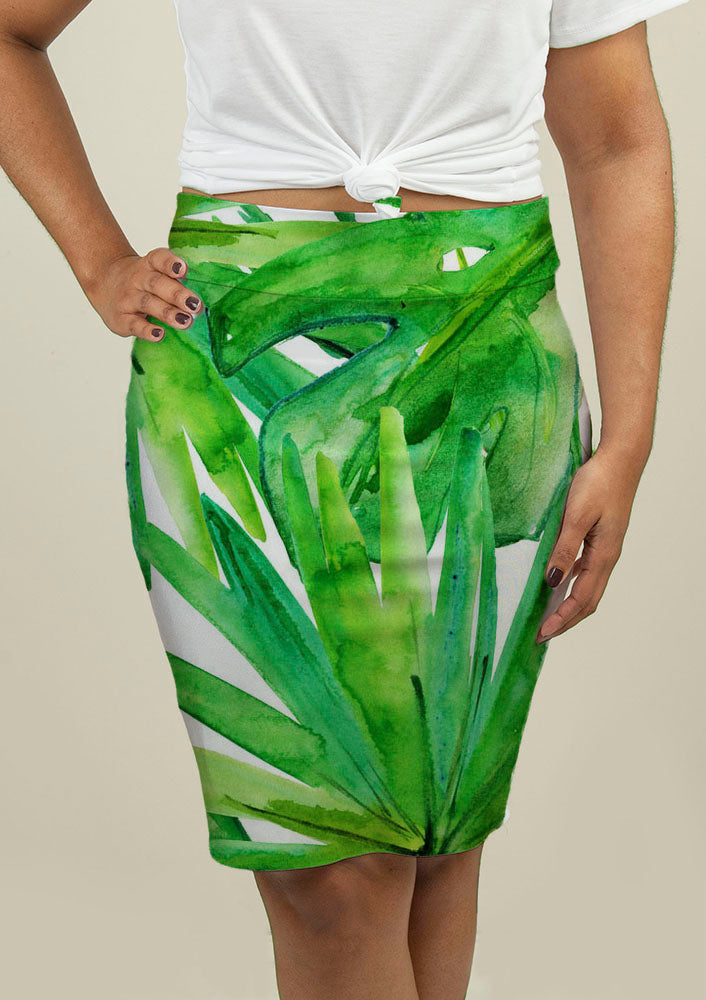 Pencil Skirt with Tropical leaves - fashionbests