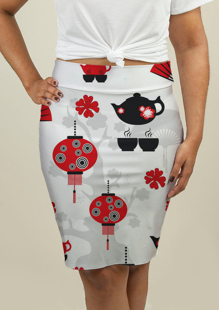 Pencil Skirt with East Tea Time Pattern - fashionbests