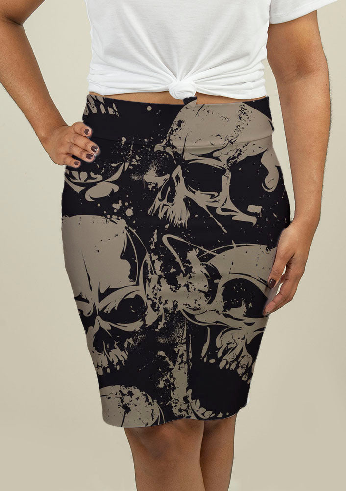 Pencil Skirt with Grunge Skulls - fashionbests