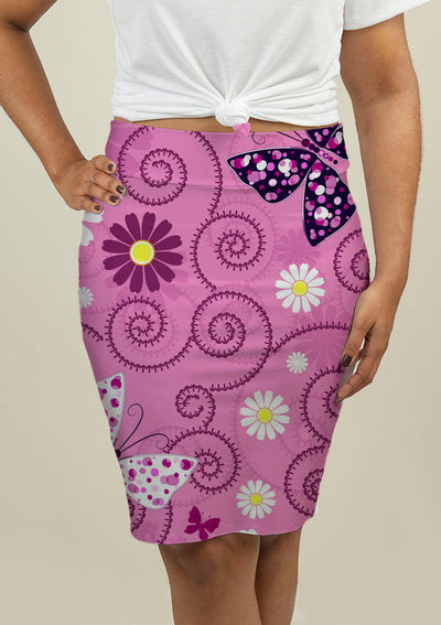 Pencil Skirt with Pink Floral Pattern - fashionbests