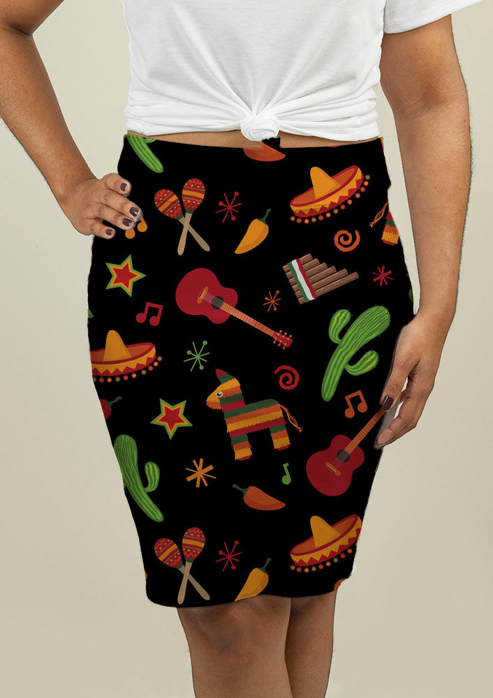 Pencil Skirt with Mexican Pattern - fashionbests