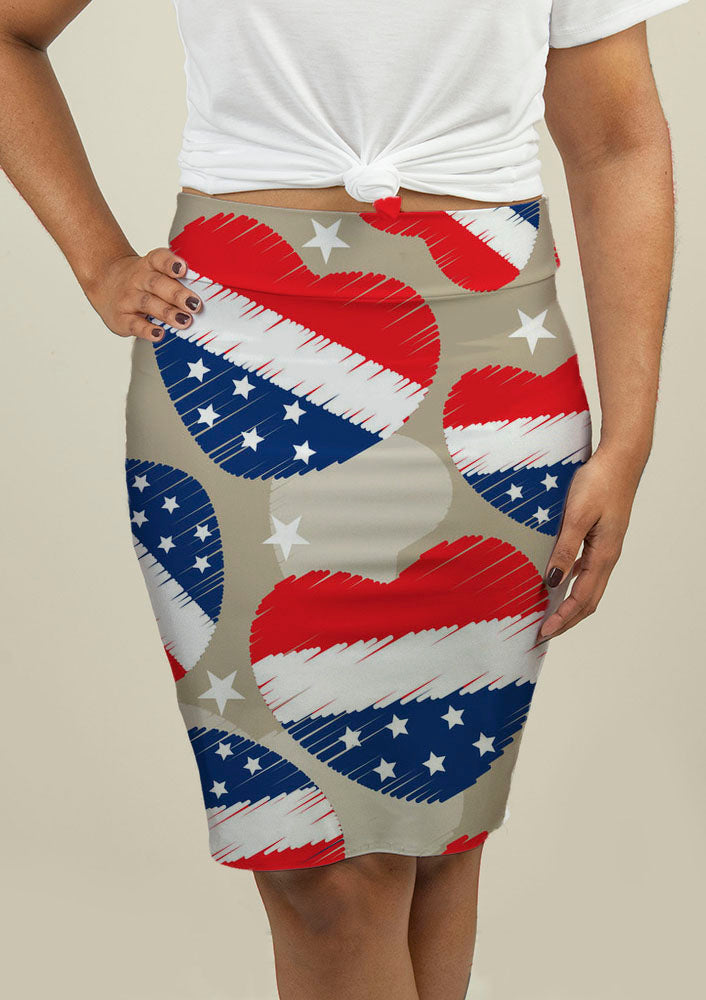 Pencil Skirt with American Independence Day Pattern - fashionbests