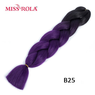 Miss Rola 100g Synthetic Jumbo Braids Hair 24 inch High Temperature Fiber Jumbo Brading Ombre Crochet Braiding Hair Extensions - fashionbests