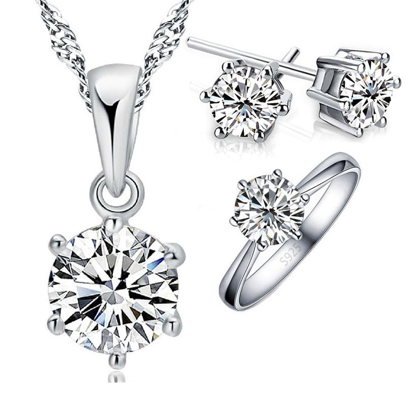 925 Sterling Silver Bridal Jewelry Sets For Women Accessory Cubic Zircon Crystal Necklace Rings Stud Earrings Set Gift - fashionbests