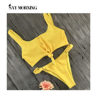 NEW ARRIVAL Secret Button Sexy Solid Bikini Push Up Swimwear Solid Bikini Set Bathing Suits Beach Wear Swimming Suit