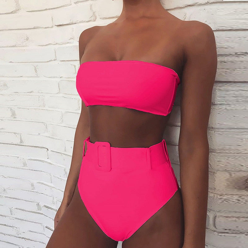 Swimwear Women Swimsuit High Leg Bandeau Bikinis Set Swimming for Bathing Suit Woman Swimsuits - fashionbests