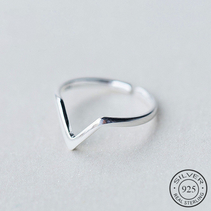 Real 925 Sterling Silver Geometric Wave Letter V Adjustable Ring Fine Jewelry For Women Party Personality Accessories - fashionbests