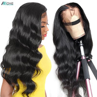 Allove Body Wave Lace Front Wig Pre Plucked Human Hair Wigs Brazilian Body Wave Lace Front Human Hair Wigs 360 Lace Frontal Wig - fashionbests