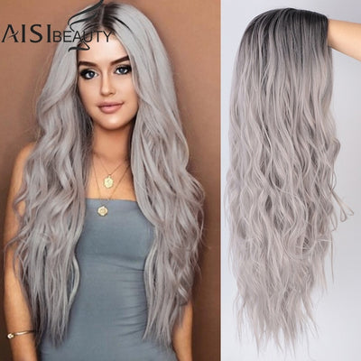 Long Wavy Womens Wig Natural Part Side Hair Ombre Synthetic Wigs Platinum/Blonde/Black Wigs Heat Resistant for Women - fashionbests