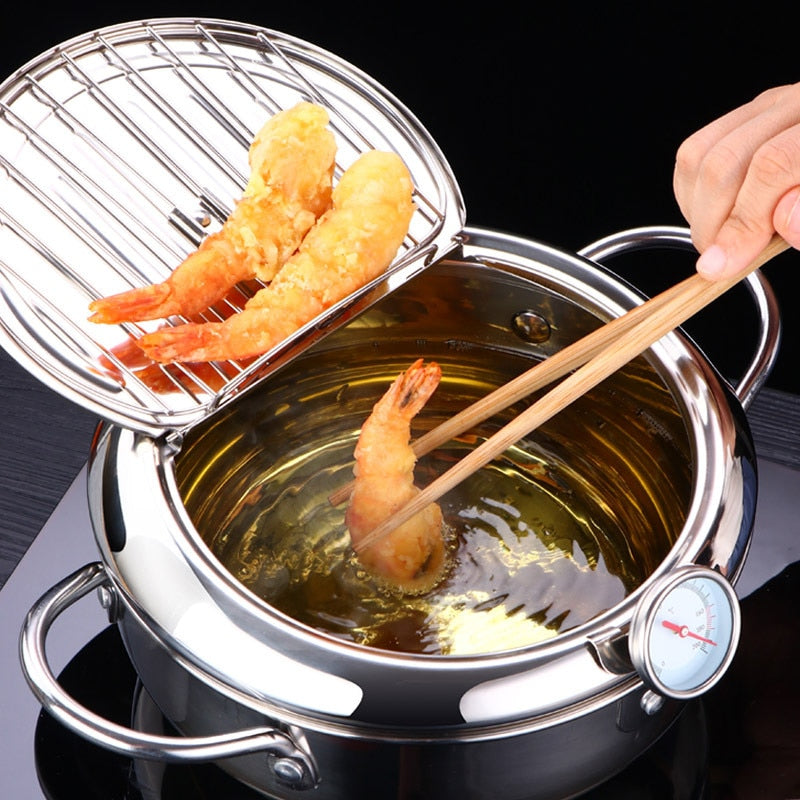 LMETJMA Japanese Deep Frying Pot with a Thermometer and a Lid 304 Stainless Steel Kitchen Tempura Fryer Pan 20 24 cm KC0405 - fashionbests
