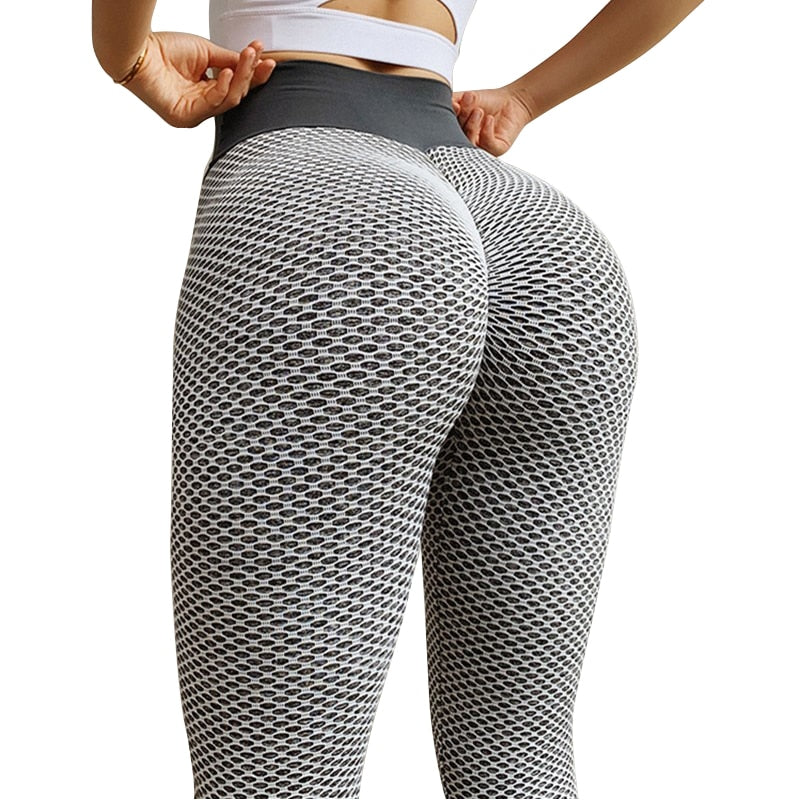 CHRLEISURE Grid Tights Yoga Pants Women Seamless High Waist Leggings Breathable Gym Fitness Push Up Clothing Girl Yoga Pant