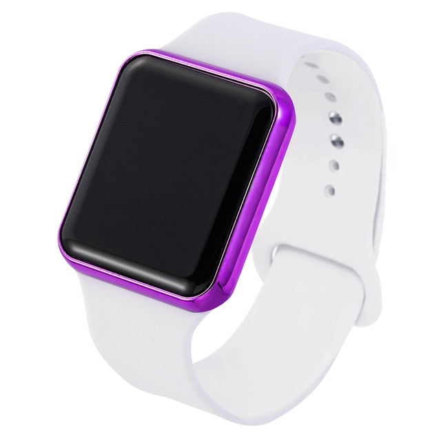 Top Brand Square Mirror Face Silicone Band Digital Watch Red LED Digital Watches Male Female WristWatch Sport Boys Clock Hours