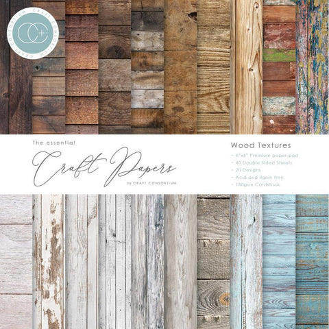 "Craft Consortium Double-Sided Paper Pad 6""X6"" 40/Pkg - Wood Textures"
