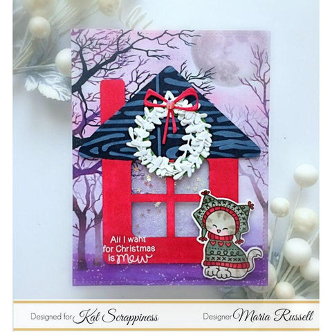 House with Chimney Shaker Card Kit by Kat Scrappiness