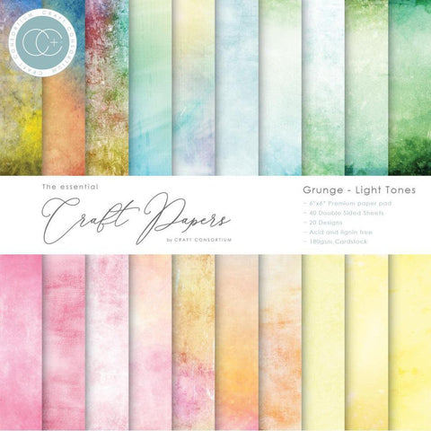 "Craft Consortium Double-Sided Paper Pad 6""X6"" 40/Pkg - Grunge-Light Tones"