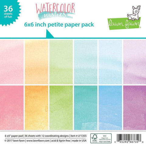 "Watercolor Wishes Petite Paper Pack 6""X6"" by Lawn Fawn - Kat Scrappiness"