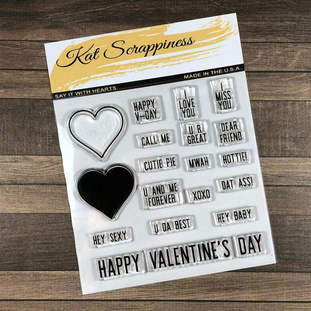 """Say It With Hearts"" 4"" x 4"" Stamp Set by Kat Scrappiness"