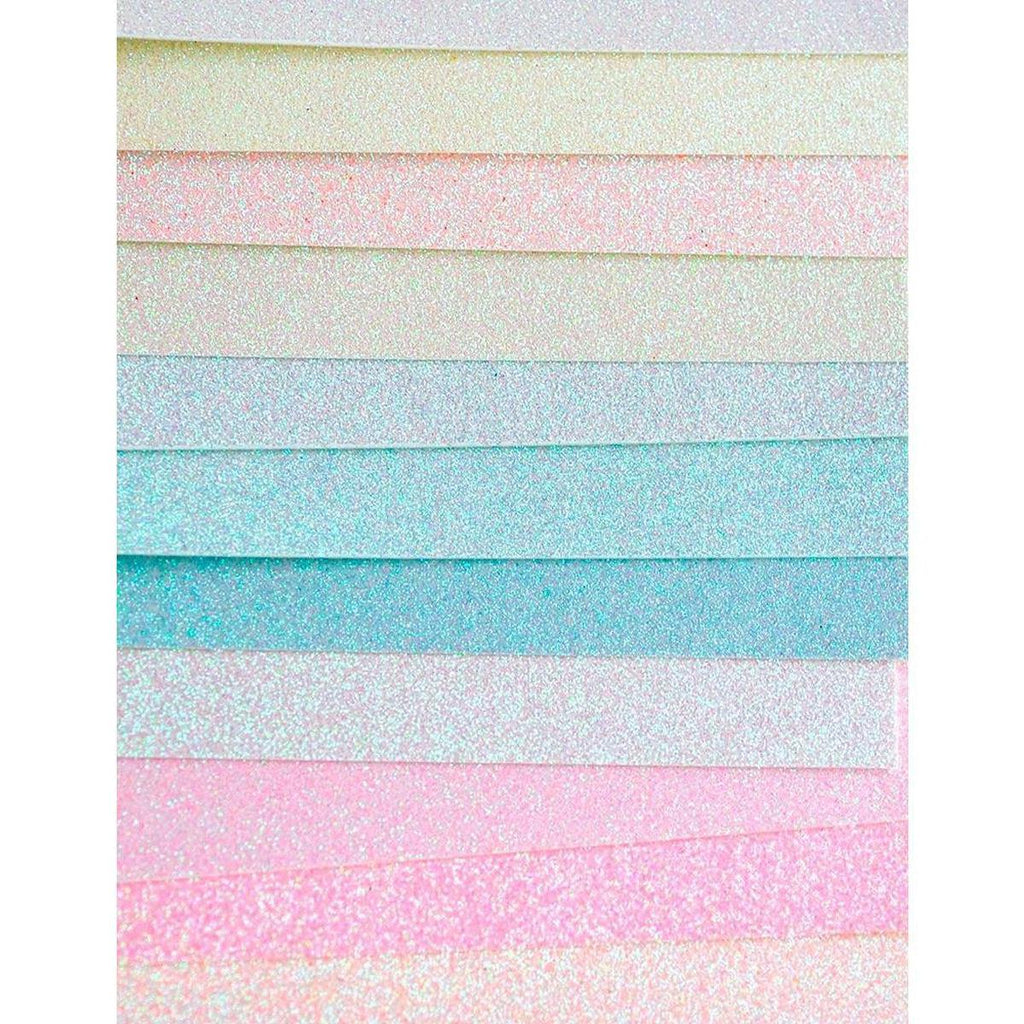 "Memory Box Glitter Paper Pad 6""X6"" 24/Pkg - Delicate Pastel - Kat Scrappiness"